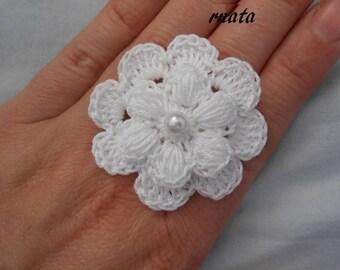 white flower crochet ring