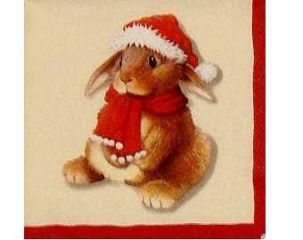 Set of 3 napkins NOE101 animals with Santa Hat