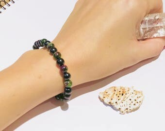 Shungite bracelet with coizit(aniolite) S-M, emf protecting and chakra healing, fullerene jewelry,magic stone, pagan bracelet,reiki crystals