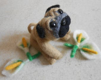Patrick dog (PUG) felted wool.