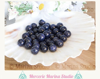 5 blue sand pearls 10mm aventurine beads * bluesand