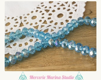 10 blue AB N25027 8x6mm Crystal beads