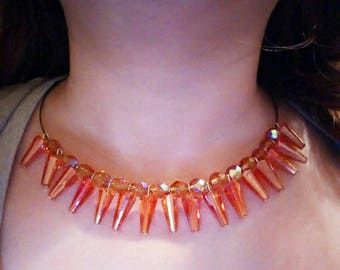 orange Sun swarovski crystal necklaces