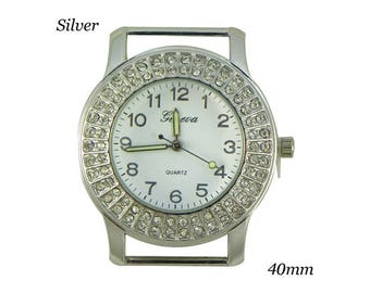 Geneva Round Solid Bar 2 Row CZ Ribbon Watch Face - Silver - 40mm