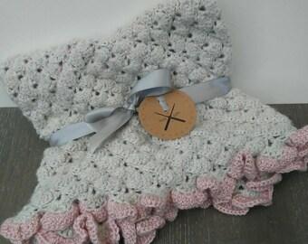 Baby Girl Crochet Ruffle Blanket | snuggle size 25x25 | light grey & pink ruffles | READY TO SHIP