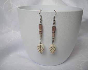 Leaf paper and Pearl Earrings