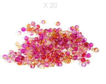 6-7 mm X 20 pieces pink Crackle glass beads