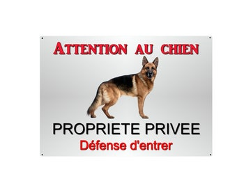 plate beware of dog German Shepherd 29x20cm aluminum metal about ref 12