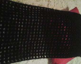 BLACK HAND CROCHETED SCARF OR WRAP