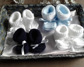 HAND KNITTED SET OF 4 PAIRS OF BOOTIES