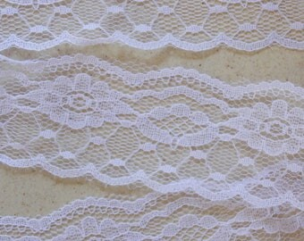 White wide lace with flowers