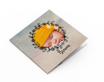 Invitation baby girl or boy, mixed - to personalize - model Brewen