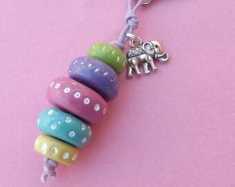 "Fashion jewelery bag multicolor - ""Vibrant pellets"" elephant charm"