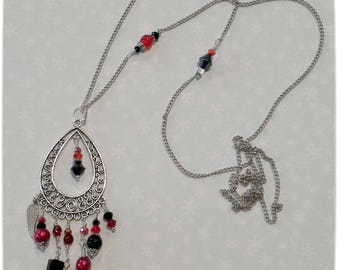 """""""Intense"""" necklace, red, black, silver, original feather, glass beads, necklace, Christmas gift idea"""