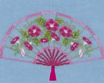 Kit embroidery blessed ladies fan convolvuli