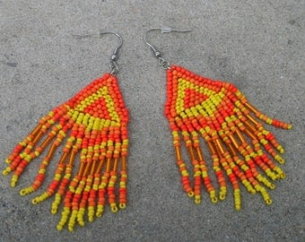 Earrings are made of woven hand beaded