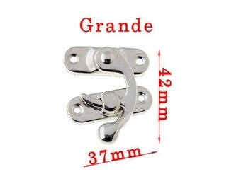 Silver toned latch closure accessory big 4, 2 x 3, 7cm in 2 parts