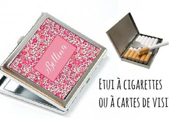 CIGARETTE or card case personalized - pink liberty