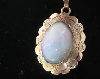 Gold Pendant with Ethiopian Opal. ca. 1950