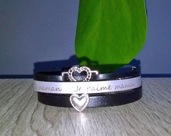 "Leather Bracelet ""I love you MOM"""