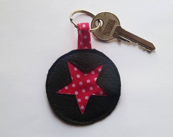 Pink polka dot star faux leather keychain