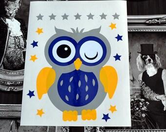Sticker deco little OWL. Decor kids vinyl sticker