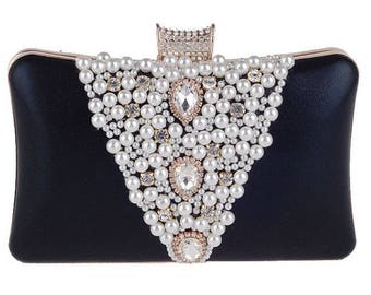 Black Pearl and Crystal Wedding, Bridal, Evening, Formal Party Clutch Bag