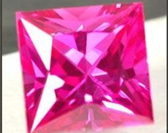 Hot pink sapphire, 4.91 carats 9.2 mm by 9.2 mm, princess faceted, synthetic corundum