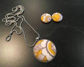 Handmade Fabric Button Earring/Pendant