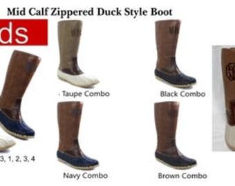 Kids Mid Calf Zippered Duck Boots