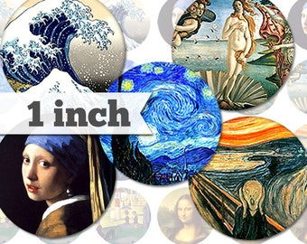 1 inch - Paintings - 7 Images - Printable  INSTANT DIGITAL DOWNLOAD - Jewelry, Stickers, Bottle Caps, Magnets, Buttons, Collage Sheet - a002