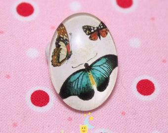 Glass cabochon oval pattern papillon18 fly / 25mm