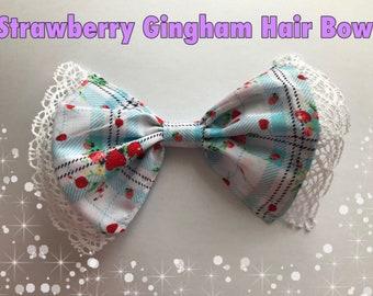 Kawaii Strawberry Gingham Hair Bow