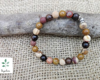 Handmade ebony wood Bangle, Oakengates, Jasper wood and Paesina stone.