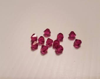 5MM fuschia swarovski crystal bicones