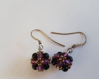 EARRING BLACK DRILL AND AMETHYST