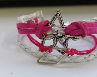 SUEDE BRACELET PINK AND WHITE