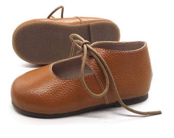 Tan leather tie up ballet flats - ONE OFF PAIR - size 7 - Ready to ship