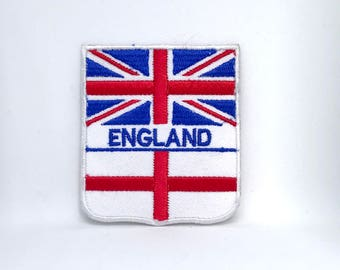 955# England Union Jack and St George Cross Flag Embroidered Iron/Sew on Patch