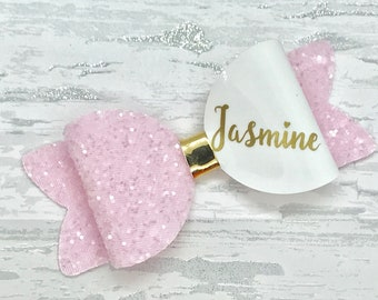 Large Personalised Bow, toddler hair bow, personalised hair clip, glitter bow, personalised school bow, personalized girls gift