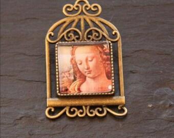 portrait Lady square cabochon renaissance brooch