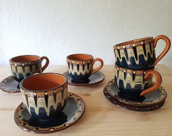 Vintage ceramic tea & coffee crockery west germany cup and saucer fat lava