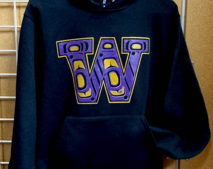 Purple and Gold Native W design on hoodies and tees