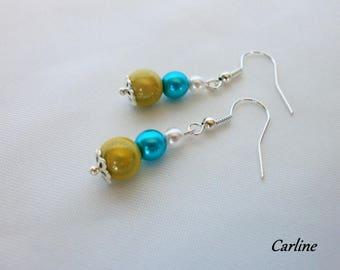 Earrings turquoise white green beads
