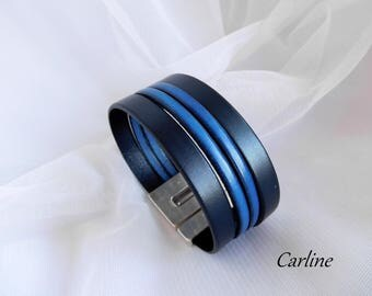 Men's Navy Blue electric clasp wide leather Cuff Bracelet
