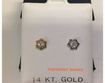 14k Yellow/White Real gold CZ Stud Octagon halo Screwback safe women men earrings
