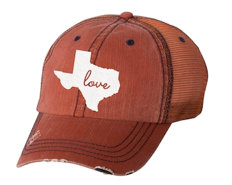 State of Texas Love Distressed Ladies Baseball Hat | Mesh | Trucker | TX | State Pride | Home