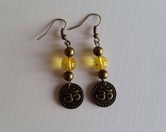 Earrings citrine (8 mm beads)