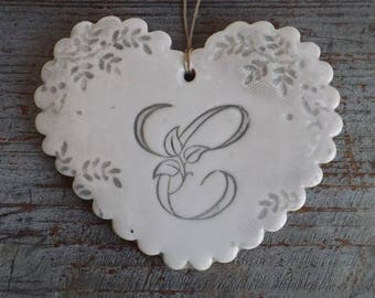 Large heart ceramic shabby chic style, Scalloped edges, light grey, large vintage initial ' it