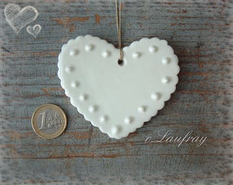 Glazed ceramic, shabby style, edges, wavy, polka dot embossed heart, white